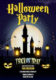Feliz escena nocturna de fiesta de halloween para cartel, banner, fondo de invitación.