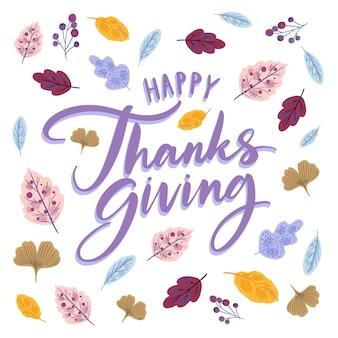 Feliz estilo de letras de acción de gracias con hojas