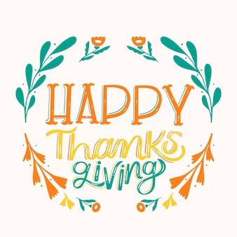 Feliz estilo de letras de acción de gracias