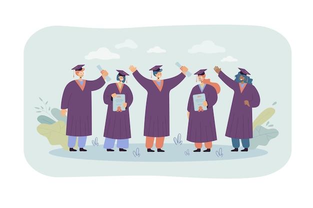 Feliz estudiante graduado de pie y con diplomas aislados ilustración plana. ilustración de dibujos animados