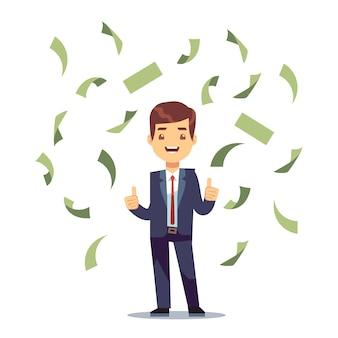 Feliz exitoso hombre de negocios en la lluvia de dinero