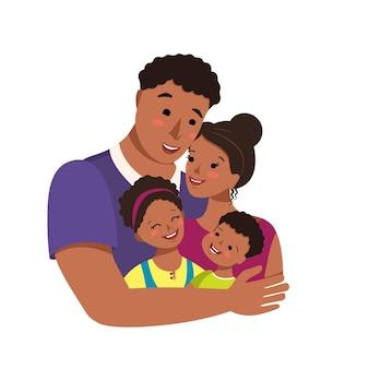 Feliz familia afroamericana junta día internacional de la familia avatar papá abraza a mamá e hijos