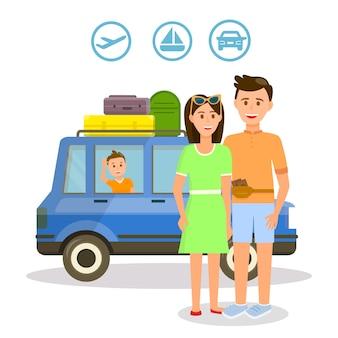 Feliz familia de hombre, mujer y niño pequeño viaje