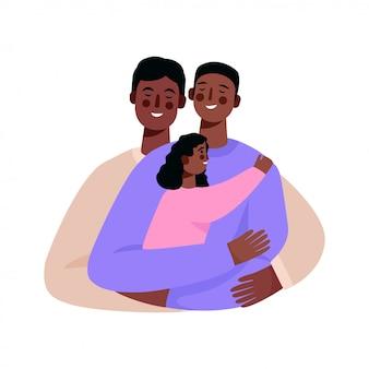 Feliz familia homosexual, pareja gay con un bebé.