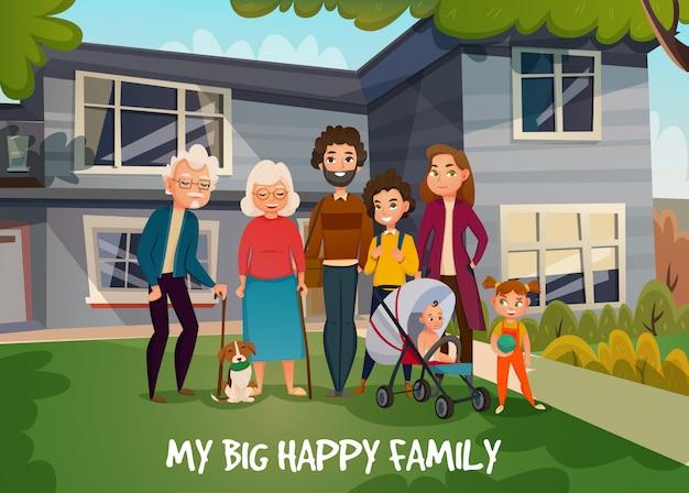 Feliz, familia, ilustración