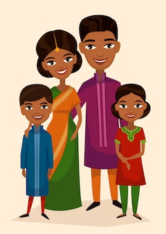Feliz familia india pareja con hijos