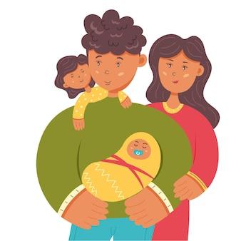 Feliz familia mamá papá hija y bebé. día de la familia, el padre y la madre. ilustración de personaje de vector