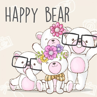 Feliz familia oso dibujado a mano animal-vector