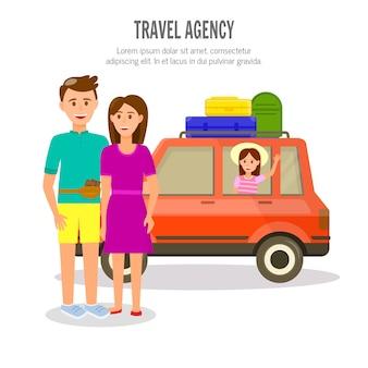 Feliz familia de padres y niña viaja en coche