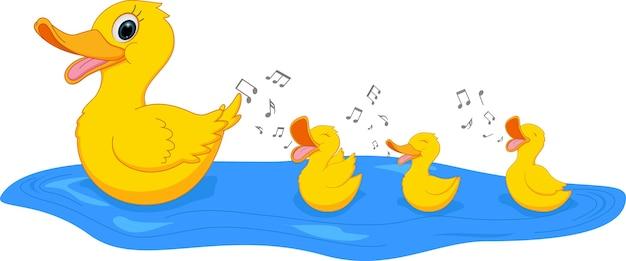 Feliz familia de pato cantando