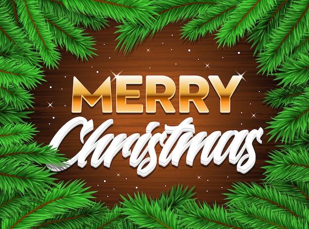 Feliz feliz navidad banner árbol ramas fondo de navidad