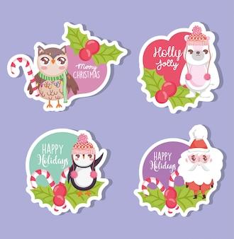 Feliz feliz navidad etiquetas colección