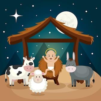 Feliz feliz navidad pesebre personaje