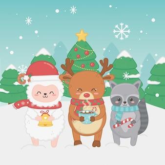 Feliz feliz tarjeta de navidad con un grupo de animales