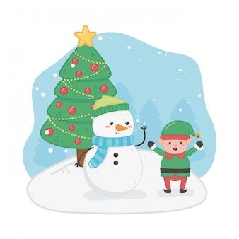 Feliz feliz tarjeta de navidad con muñeco de nieve y duende