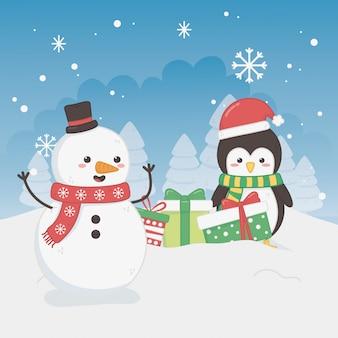 Feliz feliz tarjeta de navidad con muñeco de nieve y pingüino