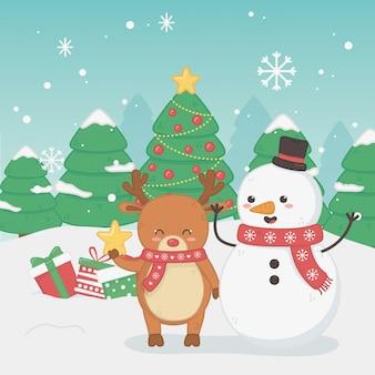 Feliz feliz tarjeta de navidad con muñeco de nieve y renos