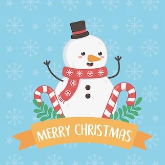 Feliz feliz tarjeta de navidad con muñeco de nieve