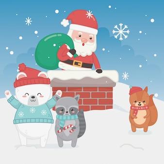 Feliz feliz tarjeta de navidad con santa claus y animales