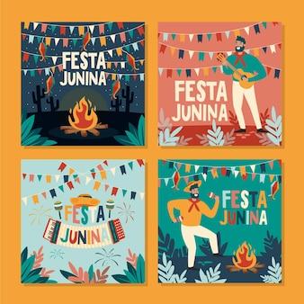 Feliz festa junina festival conjunto de tarjetas dibujadas a mano