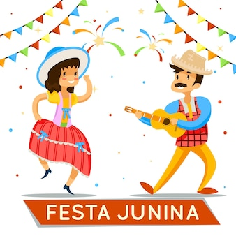 Feliz festa junina, mujer baila brasileña festa junina ilustración