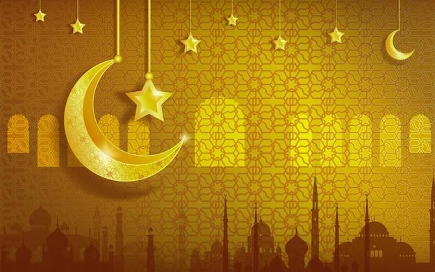 Feliz festival de año nuevo islámico muharram con fondo dorado