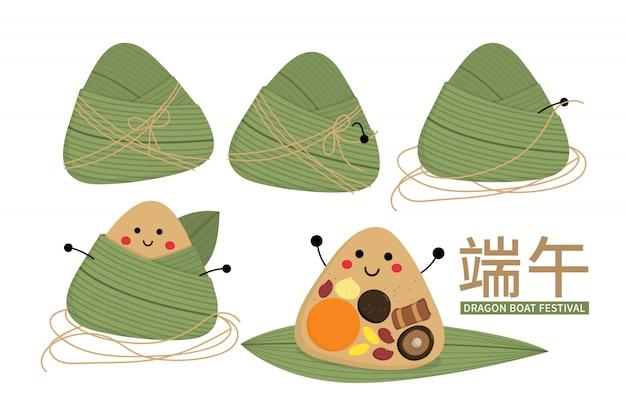 Feliz festival del bote del dragón con lindo personaje de dumpling de arroz
