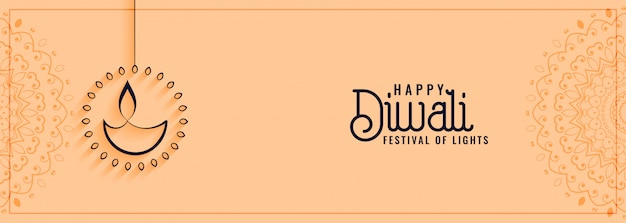 Feliz festival cultural diwali banner en estilo limpio