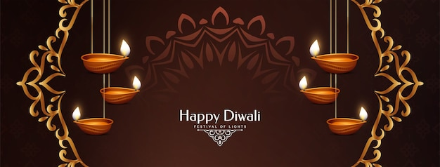 Feliz festival cultural de diwali elegante diseño de banner