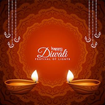 Feliz festival cultural de diwali fondo de color rojo
