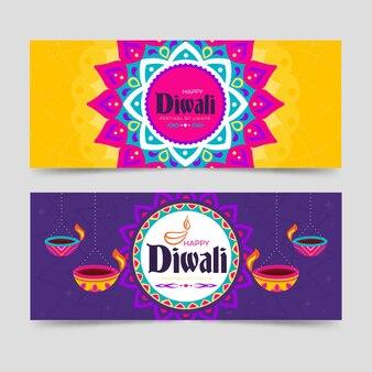 Feliz festival de diwali de banderas de luces