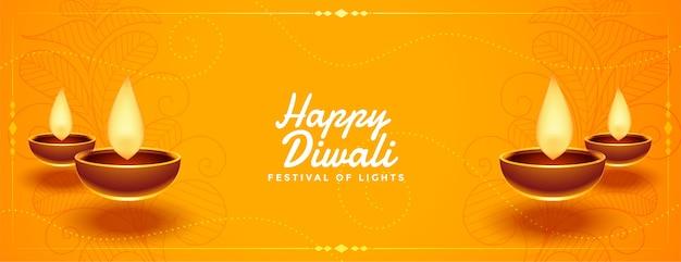 Feliz festival de diwali banner amarillo con diseño diya