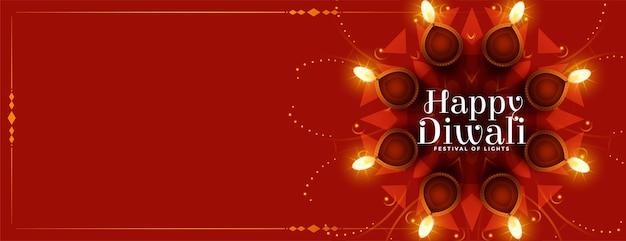 Feliz festival de diwali banner de diya con espacio de texto