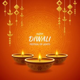 Feliz festival de diwali de celebración ligera