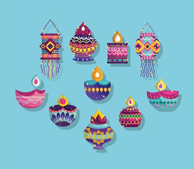 Feliz festival de diwali, colección de iconos diya lámparas linternas adornos decoración detallada