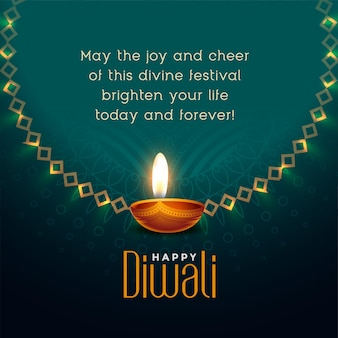 Feliz festival de diwali desea diseño de tarjeta