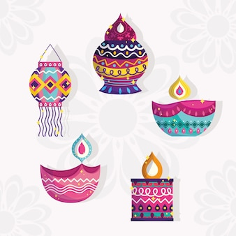 Feliz festival de diwali, establecer iconos de linternas y lámparas diya detalladas