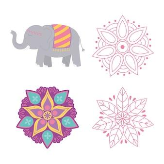 Feliz festival de diwali, flores mandala floral e íconos de elefantes.