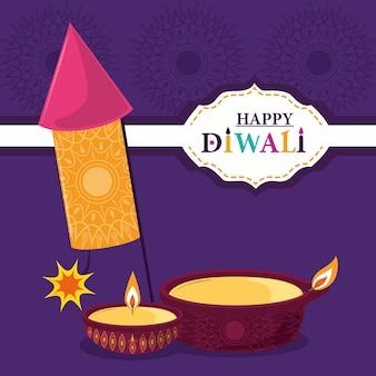 Feliz festival de diwali, fuegos artificiales diya lámparas velas decoración