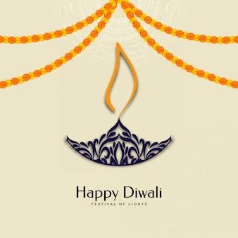 Feliz festival de diwali con guirnaldas y diya