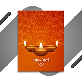 Feliz festival de diwali hermoso folleto con lámparas