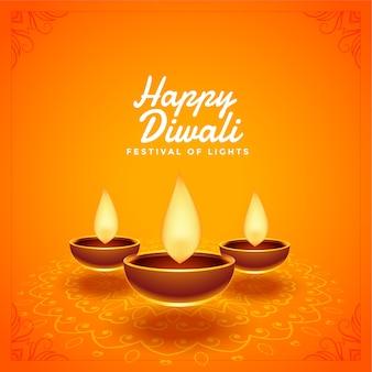 Feliz festival de diwali hermoso fondo diya