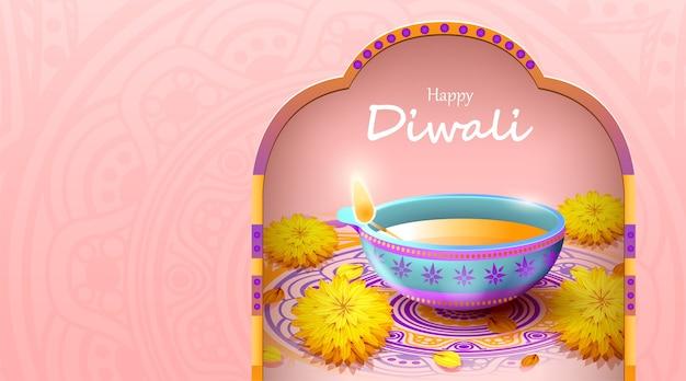 Feliz festival de diwali con lámpara de aceite, celebración de diwali