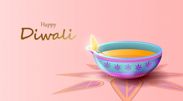 Feliz festival de diwali con lámpara de aceite