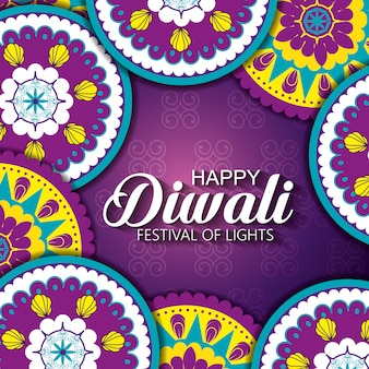 Feliz festival de diwali de luces con mandalas