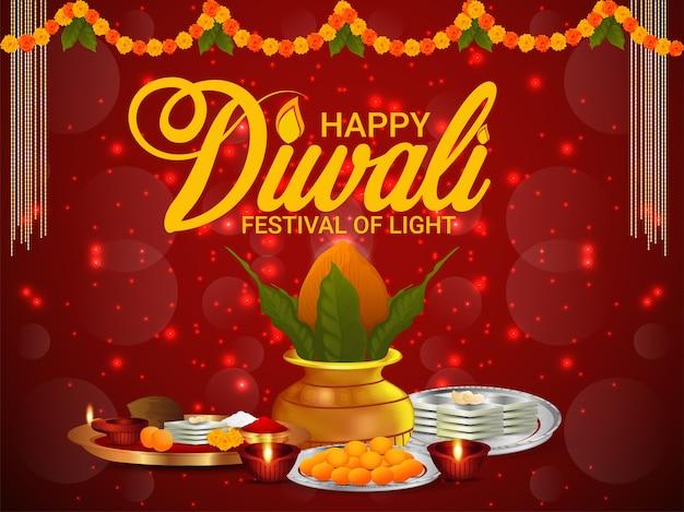 Feliz festival diwali de luz y fondo de celebración con kalash creativo