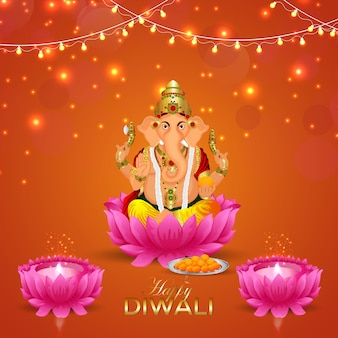 Feliz festival diwali de la luz con lord ganesha
