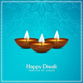 Feliz festival de diwali saludo fondo artístico azul