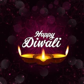 Feliz festival de diwali de la tarjeta de felicitación del tema de la luz azul con lámpara de luces