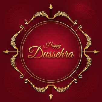 Feliz festival de dussehra de la india, feliz durga puja subh navratri, vijayadashami, arco y flecha de rama, ravana con diez cabezas